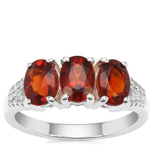 Madeira Citrine Ring with White Zircon in Sterling Silver 2.20cts