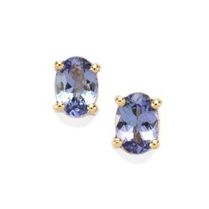 AA Tanzanite Earrings in 9K Gold 1.46cts
