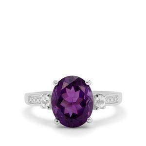 Zambian Amethyst Ring with White Zircon in Sterling Silver 3.35cts