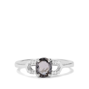 Mogok Silver Spinel & White Zircon Sterling Silver Ring ATGW 1.10cts
