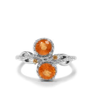 Mandarin Garnet, Diamantina Citrine & White Zircon Sterling Silver Ring ATGW 1.97cts
