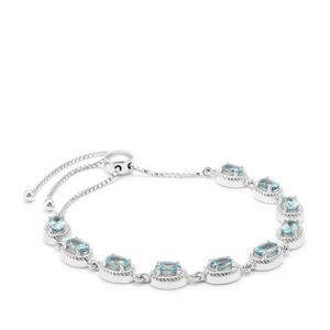 7.70ct Ratanakiri Blue Zircon Sterling Silver Slider Bracelet