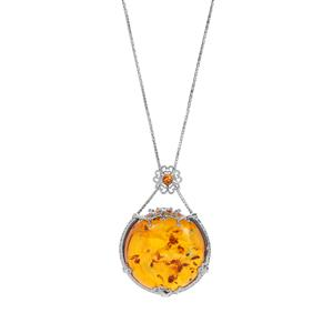 Baltic Cognac Amber Slider Necklace in Sterling Silver
