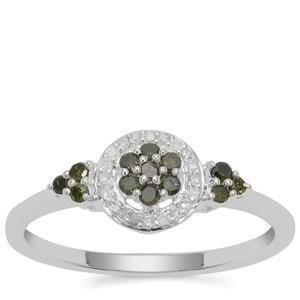 Green Diamond Ring with White Diamond in Sterling Silver 0.26ct