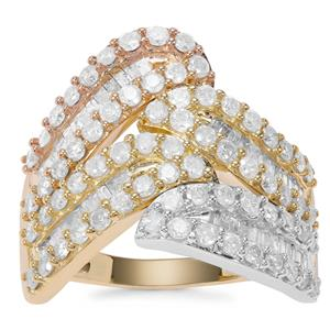 Diamond Ring in 9K Three Tone Gold 1.50ct