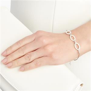 White Ceramic Diamond 9K White Gold Bracelet