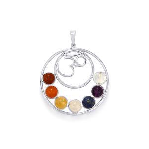 Aum design - Gemstone Sterling Silver Chakra Pendant  ATGW 25.23ct