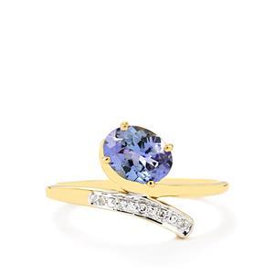 Bi-Colour Tanzanite & Diamond 9K Gold Ring ATGW 1.10cts
