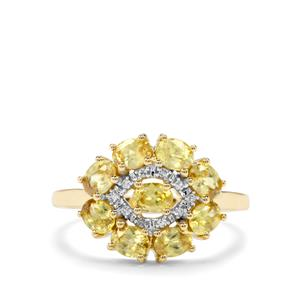Sambava Sphene & Diamond 9K Gold Ring ATGW 1.73cts