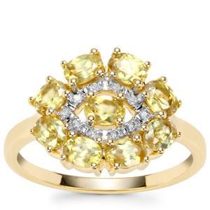 Sambava Sphene Ring with Diamond in 9K Gold 1.73cts