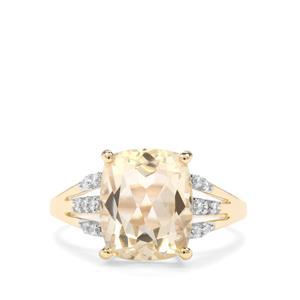 Serenite & White Zircon 9K Gold Ring ATGW 3.94cts
