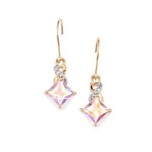 Mercury Mystic Topaz & Diamond 9K Gold Earrings ATGW 2.69cts
