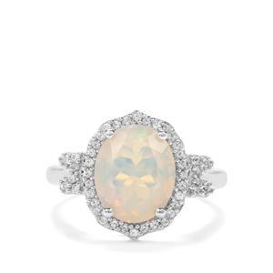 Ethiopian Opal & Ceylon White Sapphire Sterling Silver Ring ATGW 2.12cts