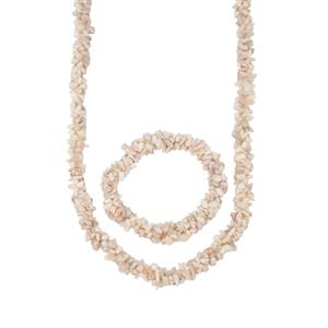 White Opal Bead Set of Necklace with Stretchable Rope Bracelet 330cts