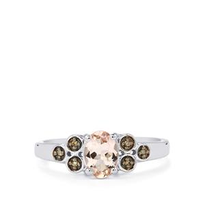 Zambezia Morganite Ring with Champagne Diamond in Sterling Silver 0.69cts