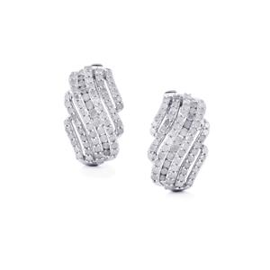 Diamond Earrings in Sterling Silver 2ct