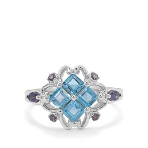 Swiss Blue Topaz & Iolite Sterling Silver Ring ATGW 1.37cts