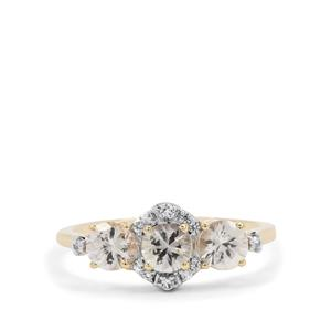 Ceylon White Sapphire Ring with White Sapphire in 9K Gold 1.26cts