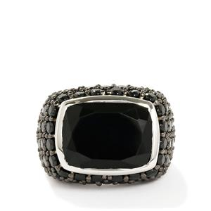 Black Onyx & Black Spinel Sterling Silver Ring ATGW 15.52cts