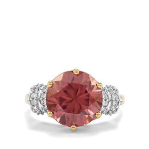 Zanzibar Sunburst Zircon Ring with Diamond in 18K Gold 7.84cts