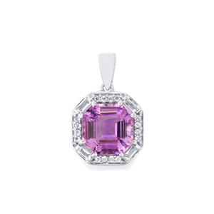Moroccan Amethyst Pendant with White Topaz in Sterling Silver 4.61cts