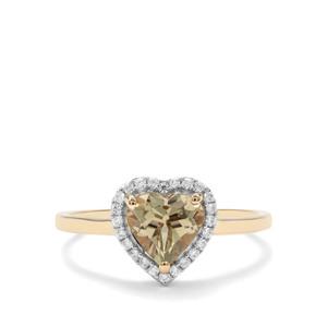 Csarite® & White Zircon 9K Gold Ring ATGW 1.40cts