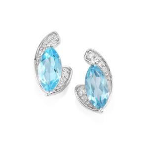 2.54ct Swiss Blue & White Topaz Sterling Silver Earrings