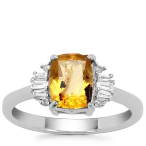 Burmese Amber Ring with White Zircon in Sterling Silver 0.74ct