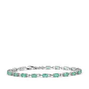 3.88ct Zambian Emerald Sterling Silver Bracelet