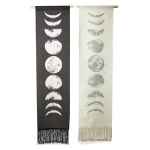 Gem Auras Moon Phases Tapestry Set of 2 - 1 Black/1 White