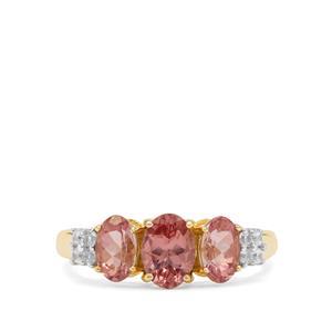 Rosé Apatite & White Zircon 9K Gold Ring ATGW 2.05cts