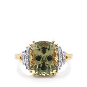 Csarite® & Diamond 18K Gold Lorique Ring MTGW 6.40cts