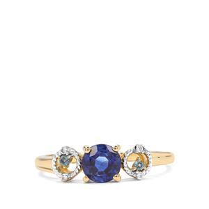 Nilamani, Marambaia London Blue Topaz & White Zircon 9K Gold Ring ATGW 0.92cts