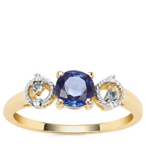 Nilamani, Marambaia London Blue Topaz Ring with White Zircon in 9K Gold 0.92cts