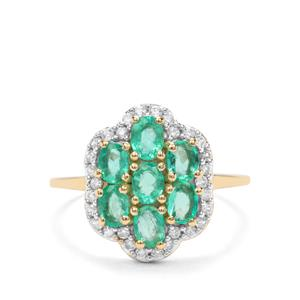 Colombian Emerald & White Zircon 9K Gold Ring ATGW 1.49cts
