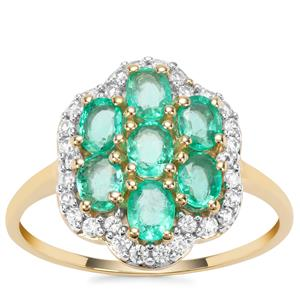 Colombian Emerald Ring with White Zircon in 9K Gold 1.49cts