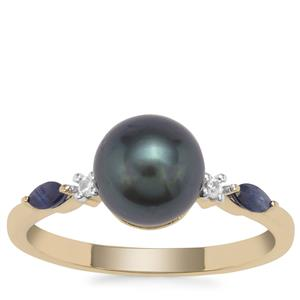 Tahitian Cultured Pearl, Blue Sapphire Ring with White Zircon in 9K Gold