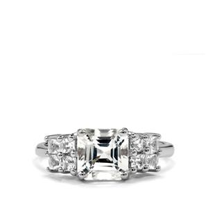 2.84ct White Topaz Sterling Silver Asscher Cut Ring