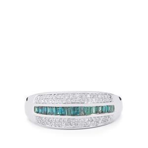 Blue Diamond Ring with White Diamond in 10k White Gold 0.5ct