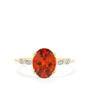 Zanzibar Sunburst Zircon & Diamond 9K Gold Ring ATGW 3.31cts