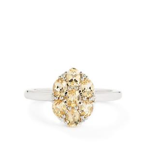 Ouro Preto Imperial Topaz & White Zircon 9K White Gold Ring ATGW 1.32cts