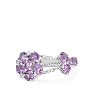 Rose De France Amethyst & White Zircon Sterling Silver Charleston Ring ATGW 1.41cts