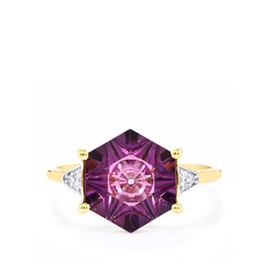 Lehrer QuasarCut Ametista Amethyst Ring with Diamond in 10k Gold 3cts