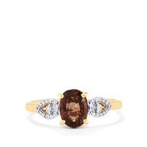 Bekily Colour Change Garnet & Diamond 18K Gold Tomas Rae Ring MTGW 1.76cts