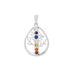 0.95ct Sterling Silver Gemstone Teardrop Tree of Life Pendant