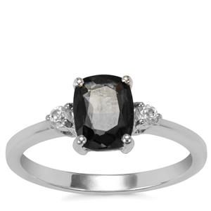 Burmese Multi-Colour Spinel Ring with White Zircon in Sterling Silver 1.42cts