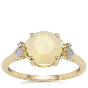 Ethiopian Opal Ring with Diamond in 9K Gold 1.14cts
