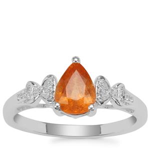 Mandarin Garnet Ring with White Zircon in Sterling Silver 1.64cts