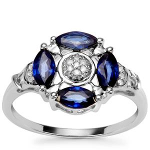 Sri Lankan Sapphire Ring with Diamond in 9K White Gold 1.16cts