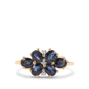 Australian Blue Sapphire & Diamond 9K Gold Ring ATGW 1.95cts